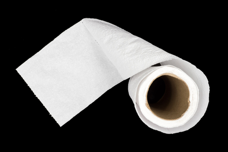 paper roll: Toilet paper roll on black background. Stock Photo