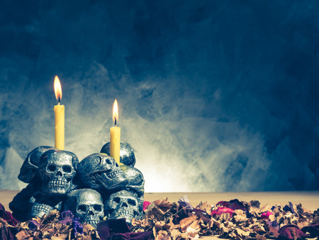 Skulls with candle burning and dried flowers on dark background.Vintage tone