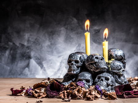 necromancy: Skulls with candle burning and dried flowers on dark background.