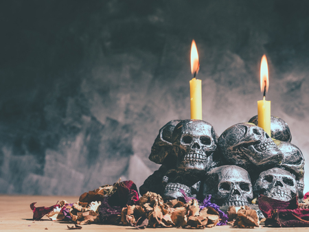 deadman: Skulls with candle burning and dried flowers on dark background.