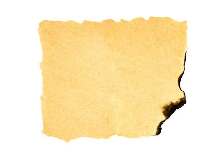 chronicle: Burned old blank paper on white background