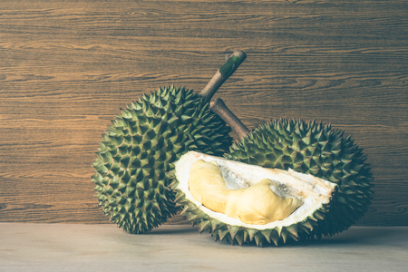 King of fruits, Durian on wooden background.