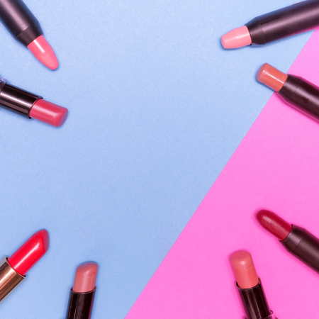 Lipsticks on colorful background.  Makeup and Beauty concept