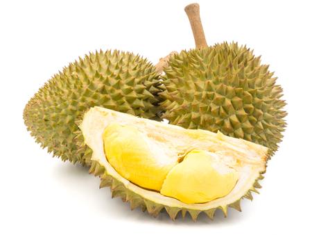 Koning van vruchten, Durian op witte achtergrond.
