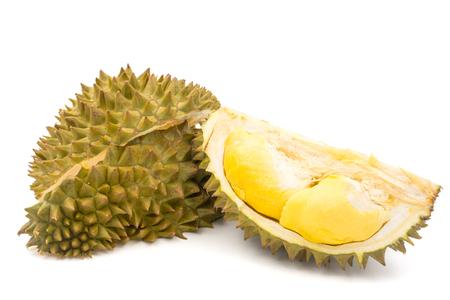 Rey de las frutas, Durian en el fondo blanco. Foto de archivo - 79008539