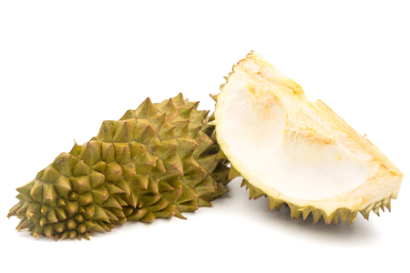 Fruit peel of Durian on white background.