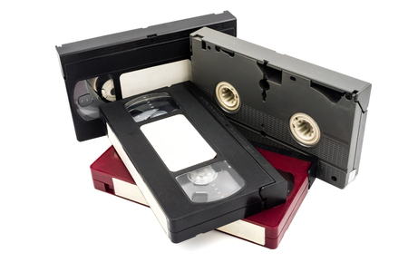 Video cassette tapes on white background.