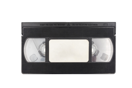 Old video cassette tape on white background. Reklamní fotografie