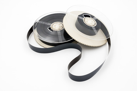 Film for video cassette tape on white background.