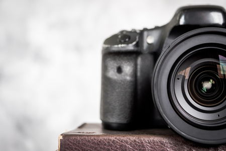 Close up of the slr camera with lens.