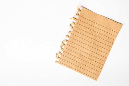 A piece of note paper on a white background. Free space for text Stock Photo
