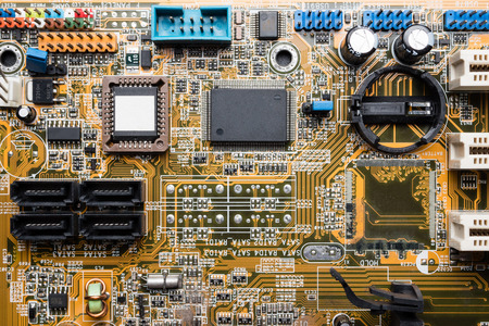 Computer circuit board, electronic technology background.