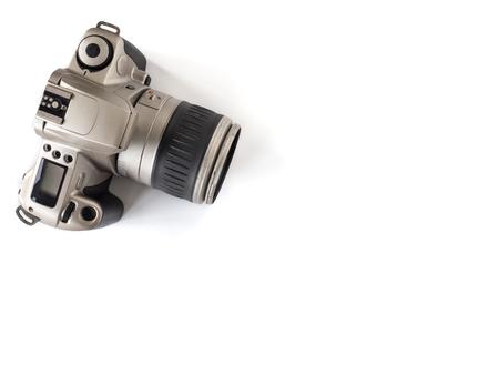Moderne camera op een witte achtergrond, Vrije ruimte voor tekst.