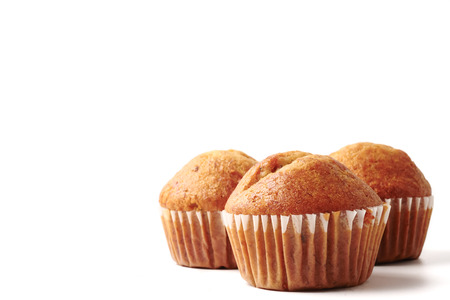 Banana cupcakes on a white background, Free space for text.