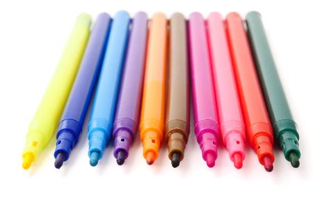 흰색 배경에 마법의 다채로운 펜입니다. 스톡 콘텐츠