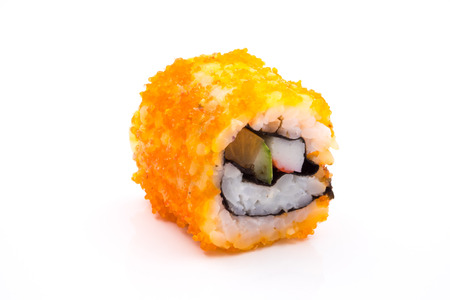 Sushi, japanese food, california roll on white background.
