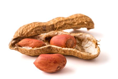 白い背景のピーナッツ。
