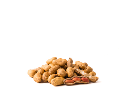 Peanuts on white background. Free space for text