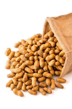 白い背景のバーラップ袋のピーナッツ。