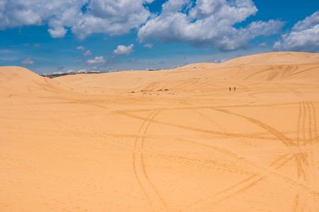 Yellow sand dunes in Mui Ne is a popular tourist destination of Vietnam Stok Fotoğraf