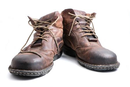 흰색 배경에 남자의 갈색 가죽 신발입니다. 스톡 콘텐츠