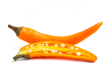 Fresh Yellow chili papper on white background.