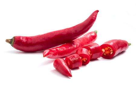 Fresh Red chili papper on white background.