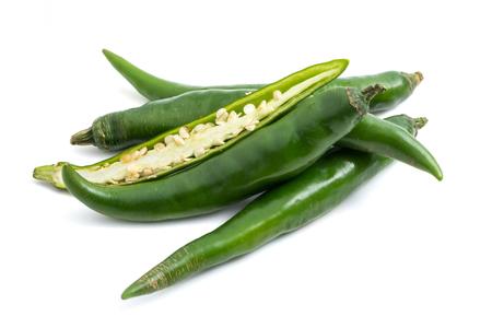 Fresh Green chili papper on white background.