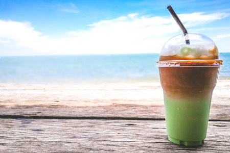 Green Tea Mocca for chillax moment by the sea.