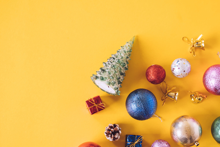stock photo top view of christmas decorations on a yellow background free space for text - Yellow Christmas Decorations