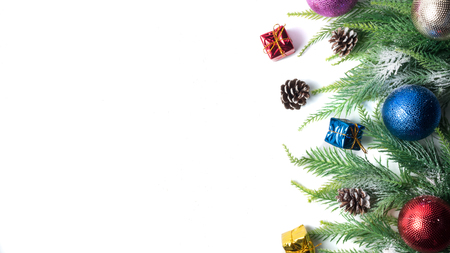 Christmas decoration on white background. Free space for text