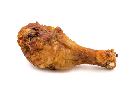Fried chicken leg on a white background.