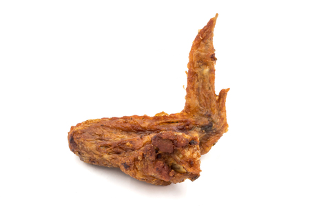Fried chicken wing on a white background.