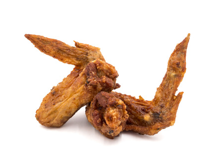 Fried chicken wings on a white background. Stock Photo