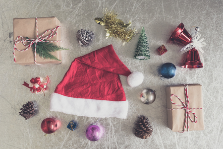 Top view of Christmas decorations on silver background. Stock Photo