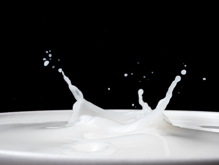 Splash of milk from a cup on black background.