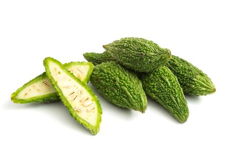 Bitter melon or bitter gourd on white background.