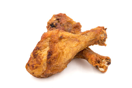 Fried chicken legs on a white background.