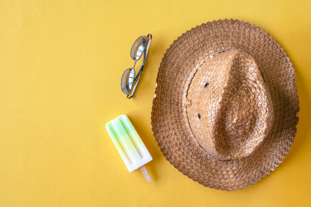 Top view of summer accessories on colorful background, Vacation and travel items.