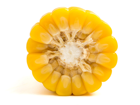Close up of ripe sweet corn on white background.