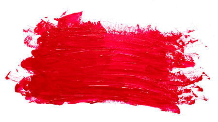 Red brush stroke on a white background