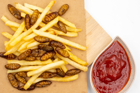 Top view of french fries with fried insects and ketchup on wooden tray Stock Photo