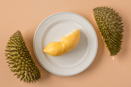 King of Fruits, Durian on brown background.