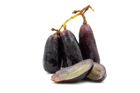 Black seedless moon drops grape or witch fingers grape isolated on a white background
