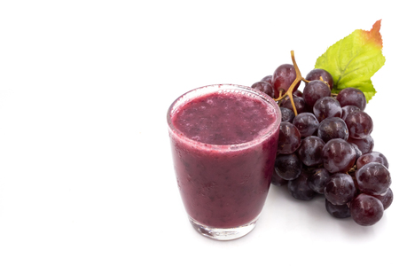 Glass of Grape juice smoothie on white background