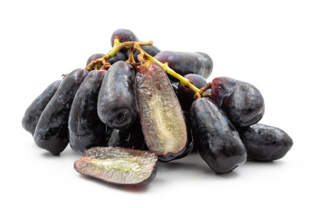 Black seedless moon drops grape or Witch fingers grape isolated on white background