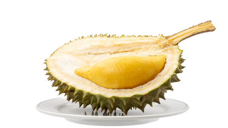 King of Fruits, Durian in dish isolated on white background