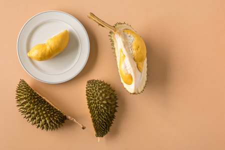 King of Fruits, Durian on brown background. Copy space Stock fotó