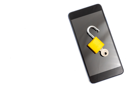 Smart phone with padlock on white background. Security concept
