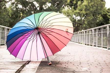 Rainbow umbrella on the floor in a park